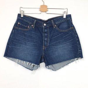 Levi's High-Rise Side Slit Cutoff Denim Shorts